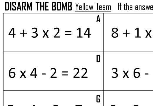 BIDMAS - 4 - Disarm the Bomb Worksheet