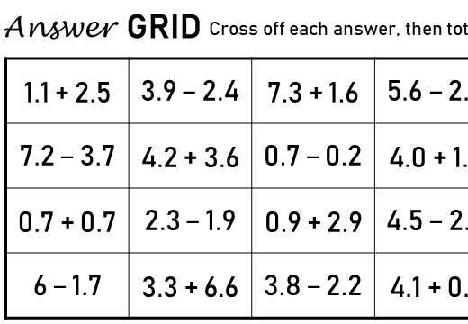 1 Digit Decimals - Adding & Subtracting - Answer Grid