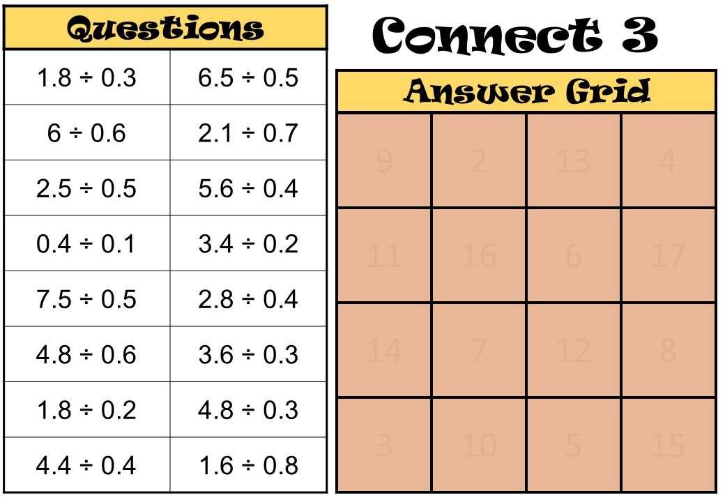 1 Digit Decimals - Dividing - Connect 3