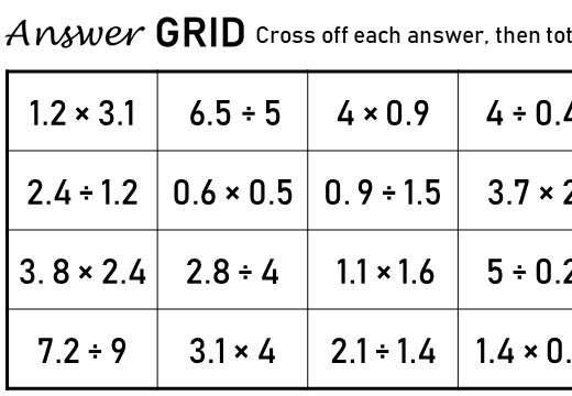 1 Digit Decimals - Multplying & Dividing - Answer Grid