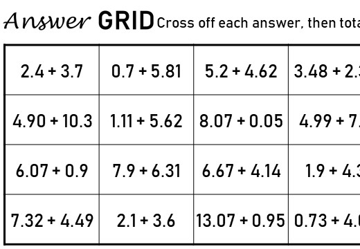 2 Digit Decimals - Adding - Answer Grid