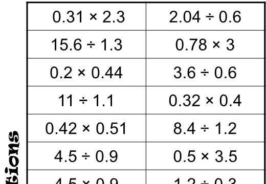 2 Digit Decimals - Multiplying & Dividing - Four in a Row
