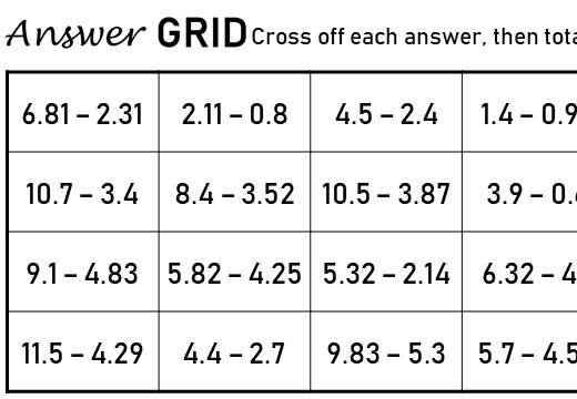 2 Digit Decimals - Subtracting - Answer Grid
