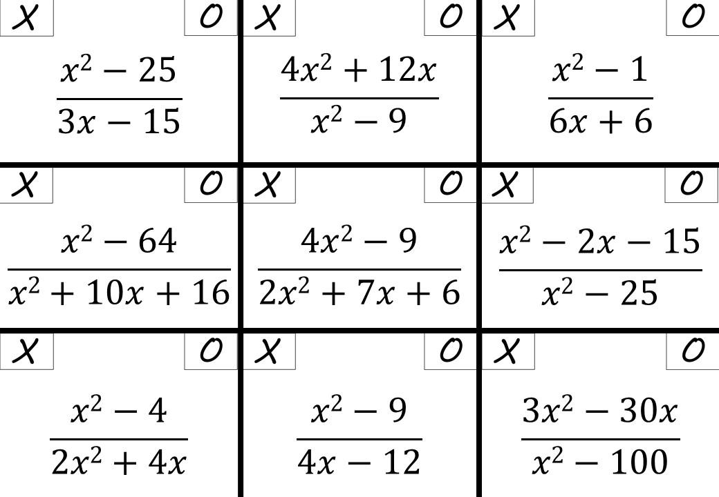 Algebraic Fractions - Simplifying - Difference of Two Squares - Noughts & Crosses