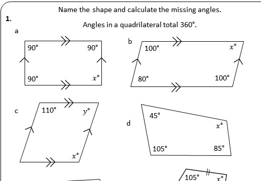 Angles - Special Quadrilaterals - Worksheet A