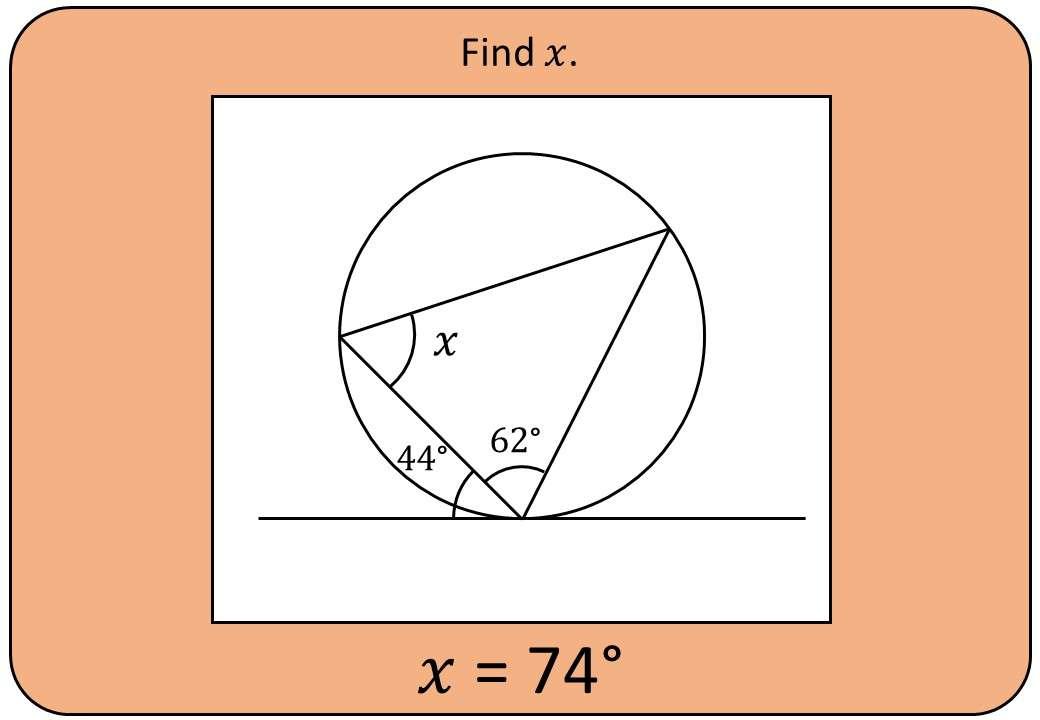 Circle Theorems - Alternate Segment - Bingo OA