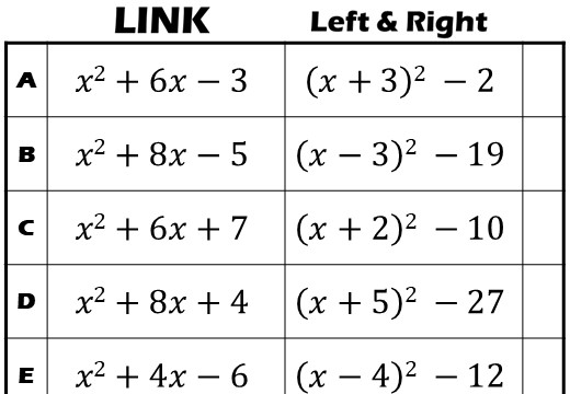 Completing the Square – Link