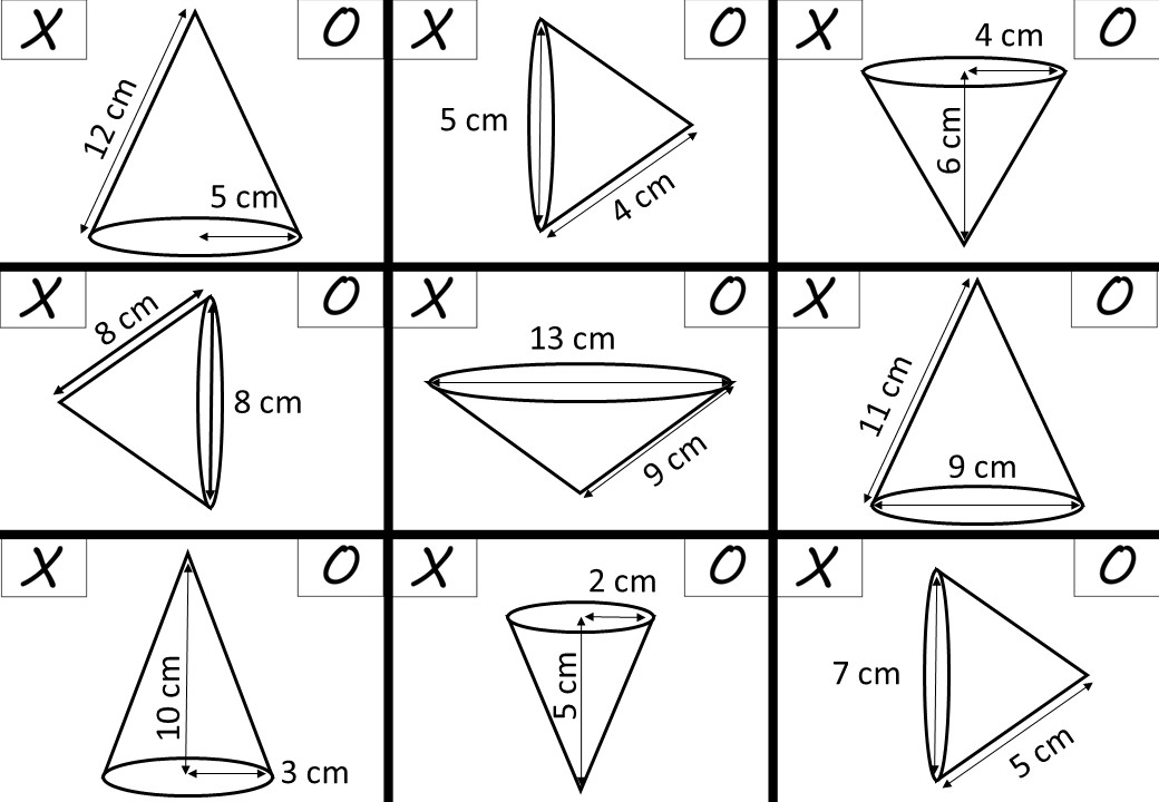 Cone - Volume & Surface Area - Noughts & Crosses
