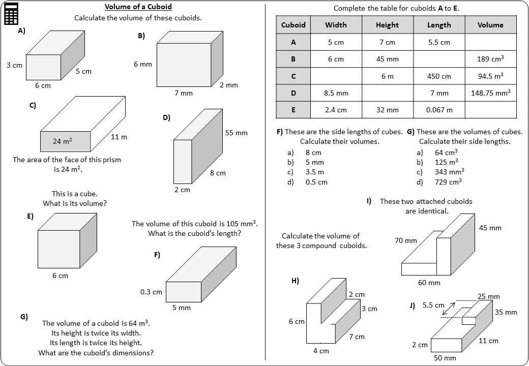 Cuboid - Volume - Worksheet A