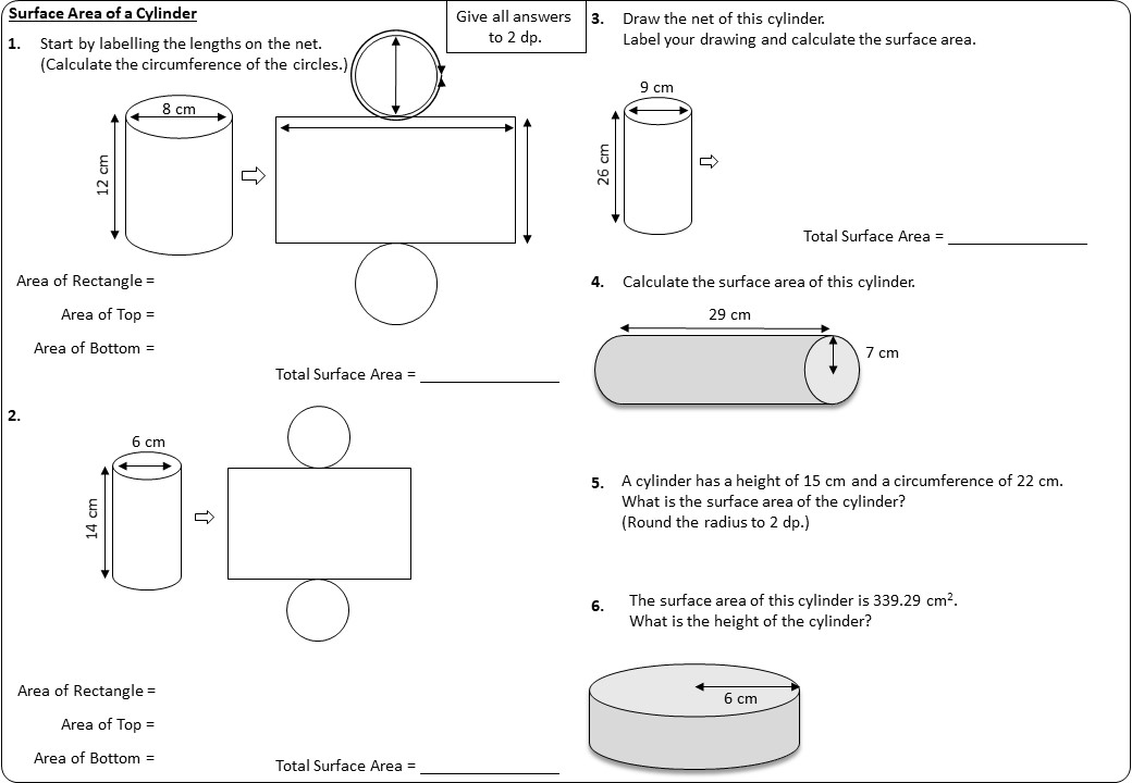 Cylinder - Surface Area - Worksheet