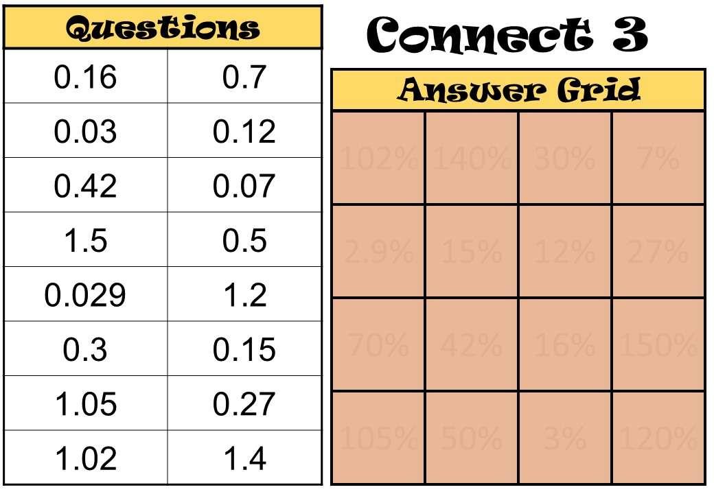 Decimals to Percentages - Connect 3