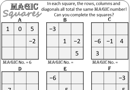 Directed Numbers - Adding - Magic Squares