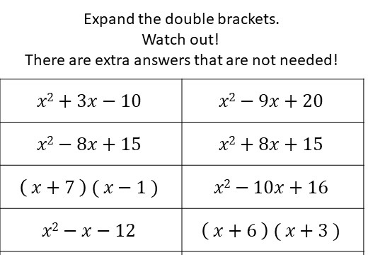 Double Brackets - Expanding - Without Coefficients - Card Match