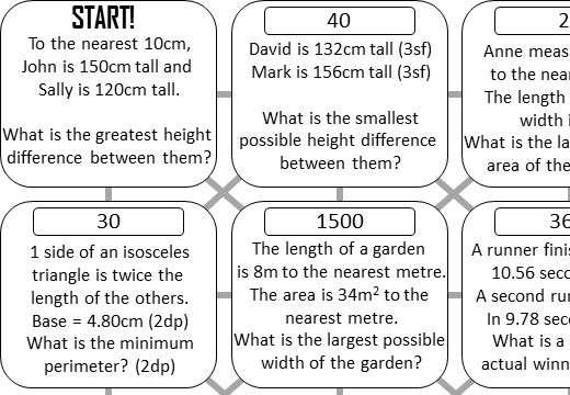 Error Intervals - Calculations - Answer Maze