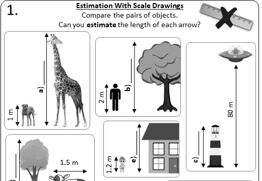 Estimation - Scale Drawings - Worksheet A