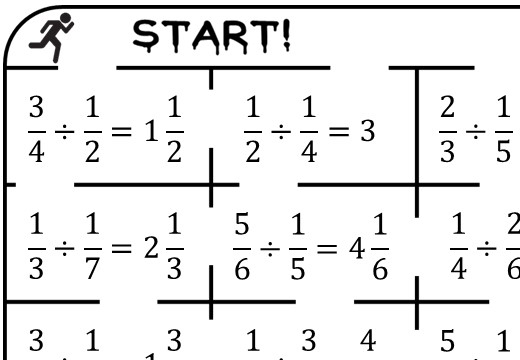 Fractions - Dividing - True or False Maze