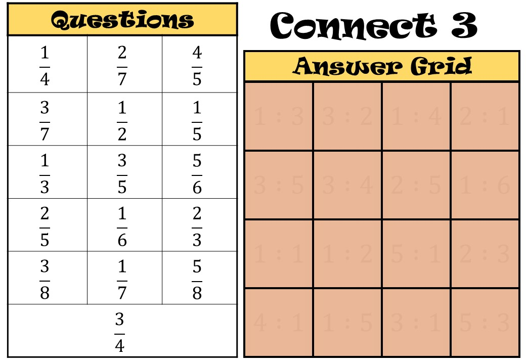 Fractions to Ratios - Connect 3
