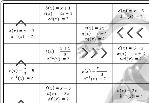 Functions - Composite & Inverse - Substitution - Worksheet A