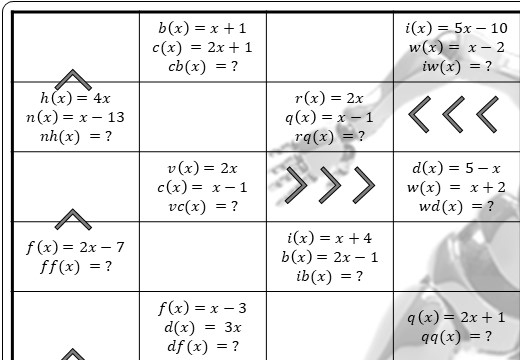 Functions - Composite - Substitution - Worksheet A
