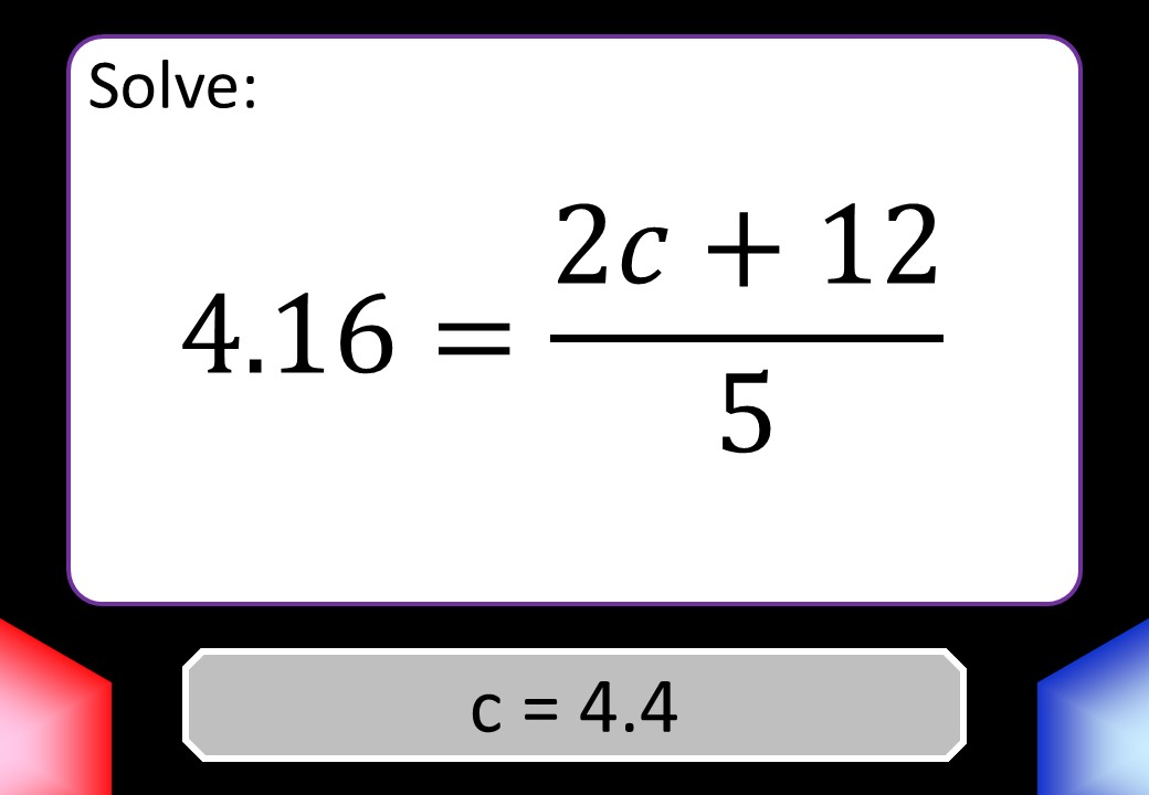 Linear Equations - Variable on One Side - Mixed - Calculator - Blockbusters