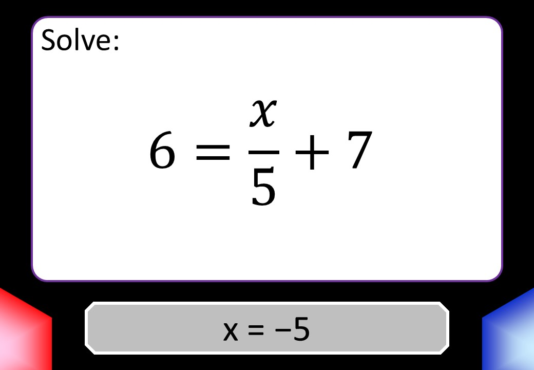 Linear Equations - Variable on One Side - Mixed - Non-Calculator - Blockbusters