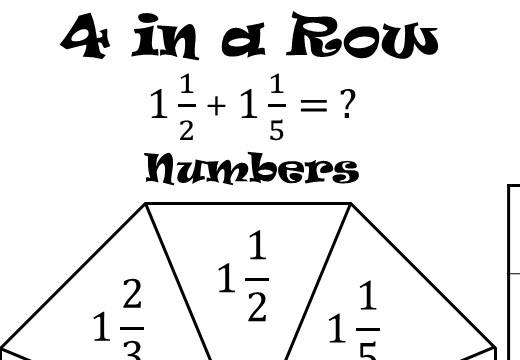 Mixed Numbers - Adding - Four in a Row