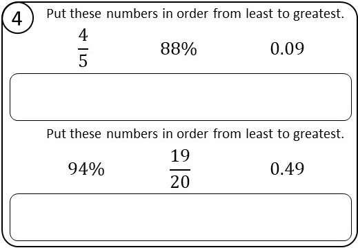 Ordering Fractions, Decimals & Percentages - Relay Race