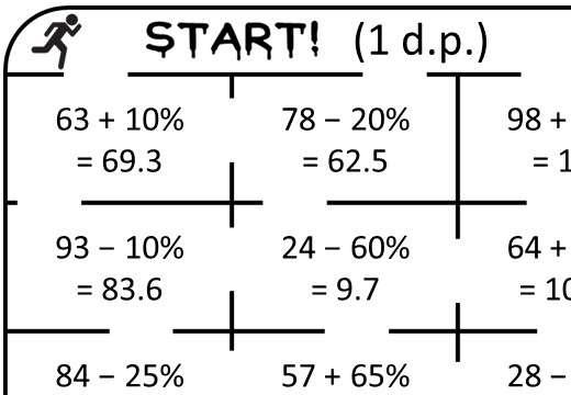 Percentage - Increase & Decrease - Calculator - True or False Maze