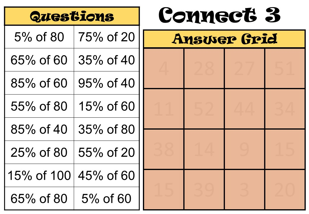 Percentage of a Quantity - Non-Calculator - 5s - Connect 3