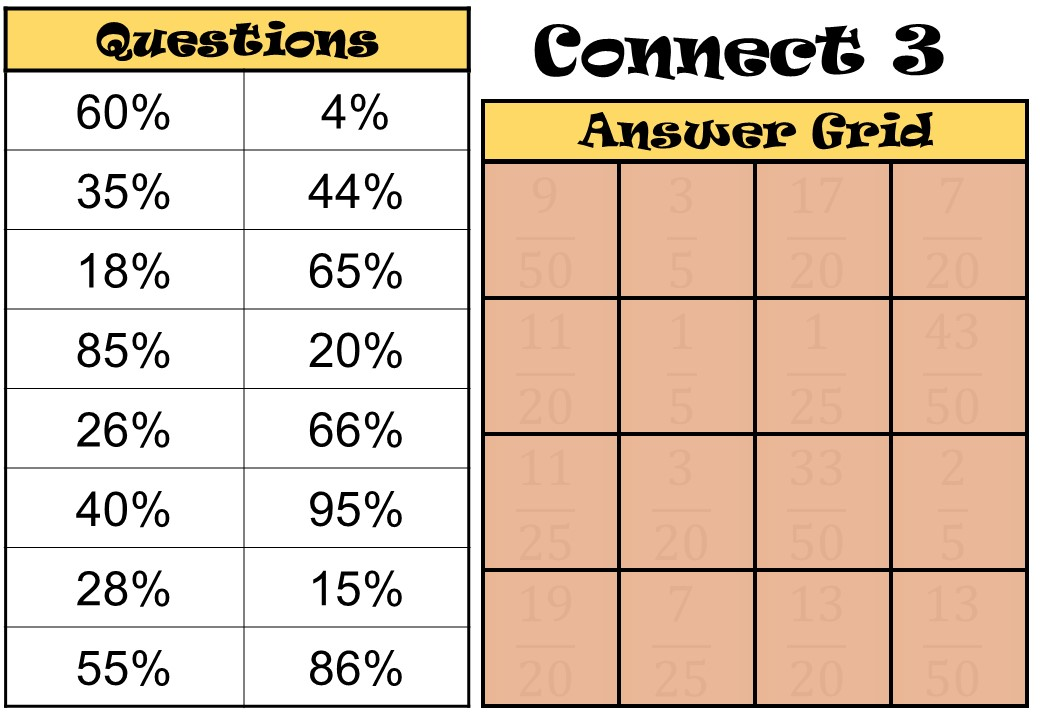Percentages to Fractions - Connect 3