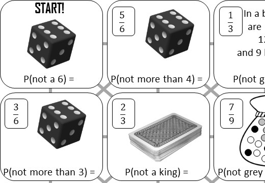 Probability - Event Will Not Happen - Answer Maze