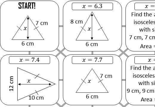 Pythagoras - Isosceles Triangles - Answer Maze
