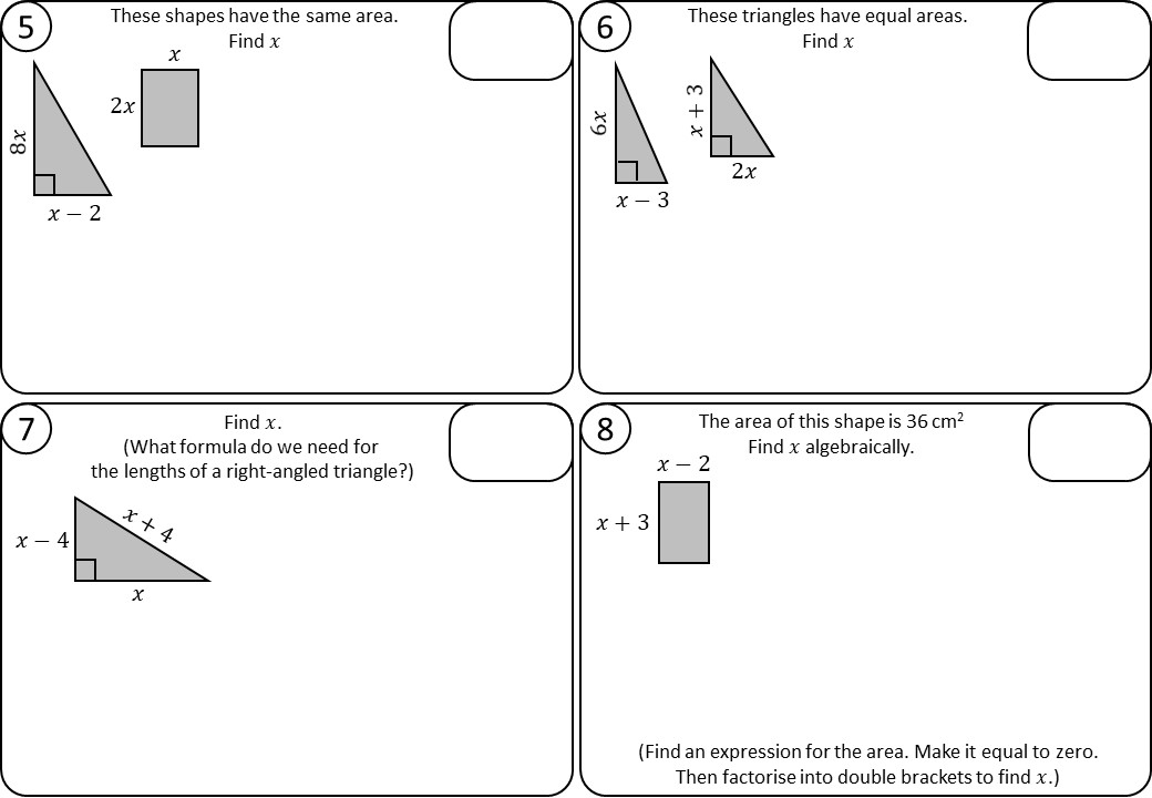Quadratic Equations - Forming & Solving - Relay Race