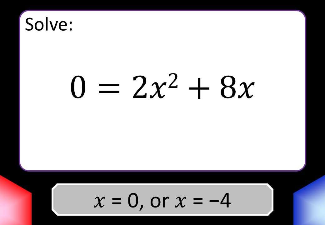 Quadratic Equations - c = 0 - Blockbusters