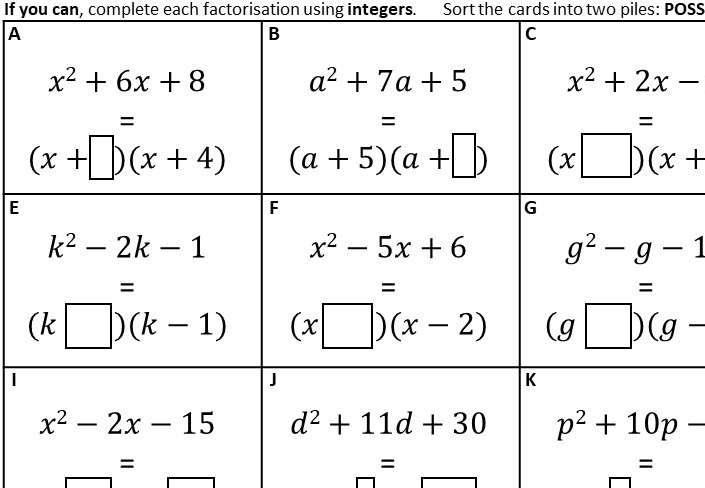 Quadratic Factorisation - Without Coefficients - Card Sort