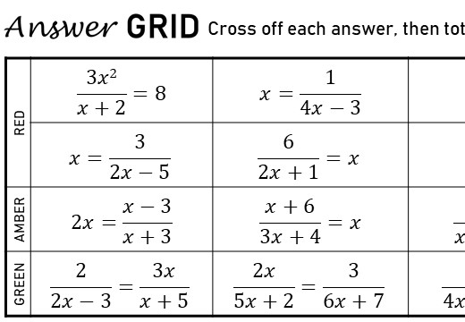 Quadratic Rational Equations - With Coefficients - Answer Grid