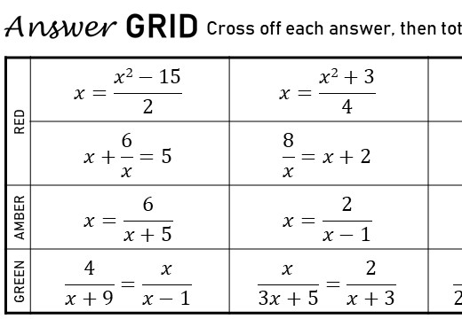 Quadratic Rational Equations - Without Coefficients - Answer Grid