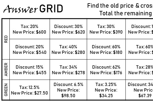 Reverse Percentage - Calculator - Answer Grid