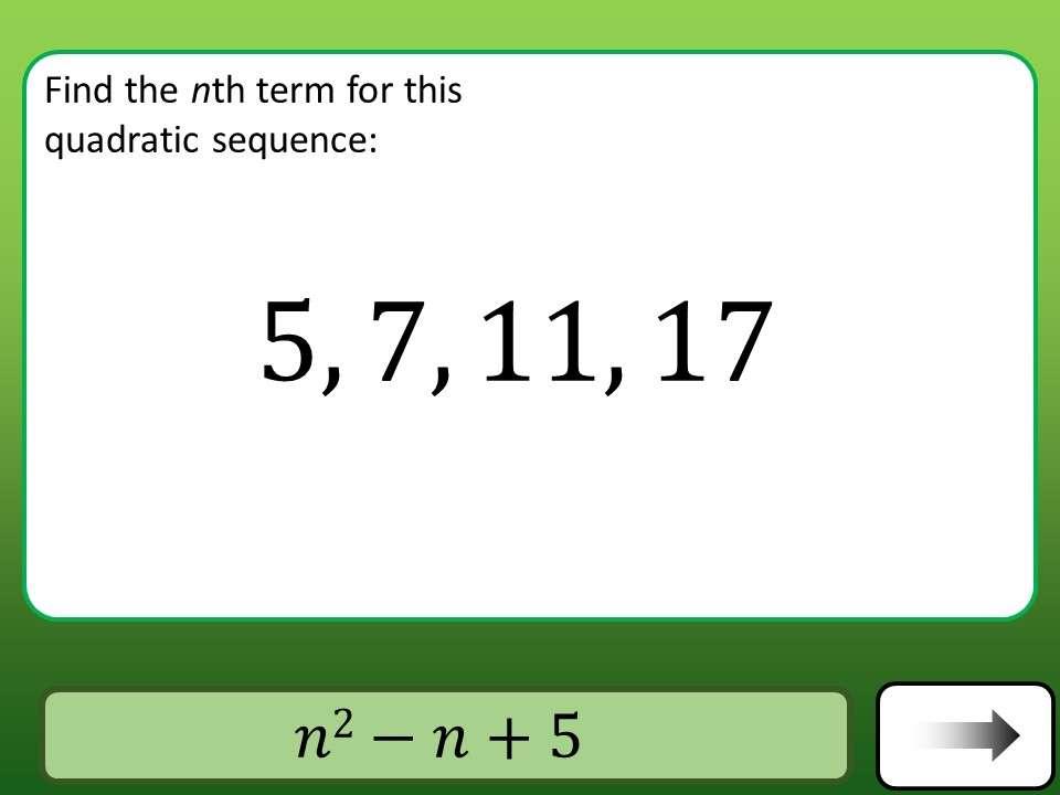 Sequences - Quadratic - Car Race