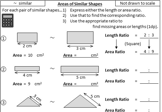 Similar Shapes - Area - Worksheet A