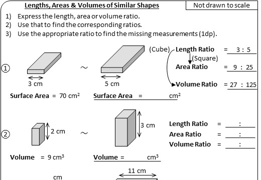Similar Shapes - Length, Area & Volume - Worksheet A