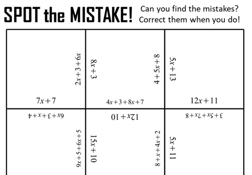 Simplifying Expressions - Adding - Spot the Mistake