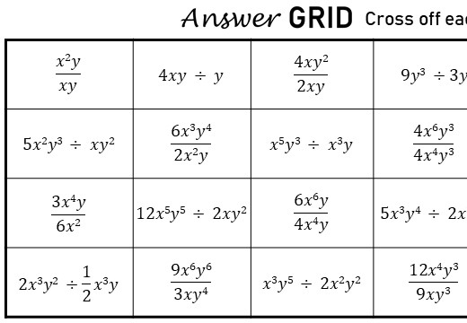 Simplifying Expressions - Dividing - Answer Grid