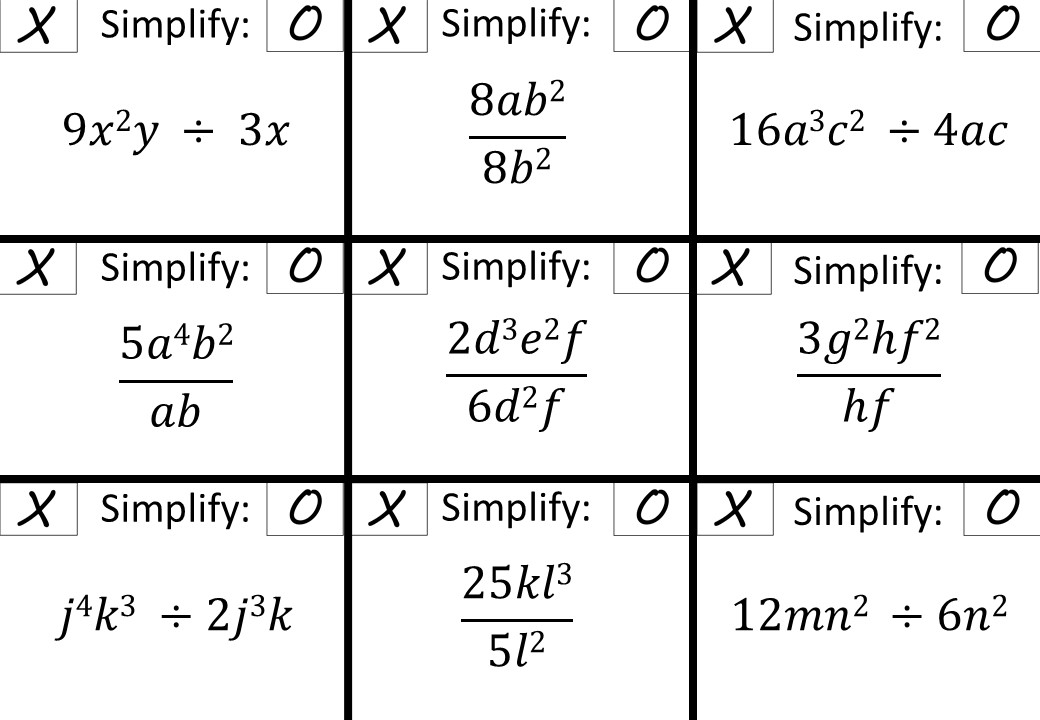 Simplifying Expressions - Dividing - Noughts & Crosses