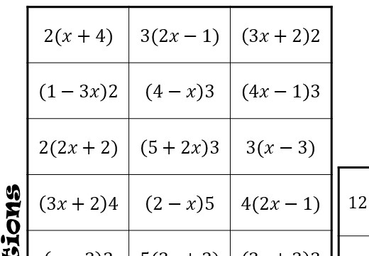 Single Brackets - Expanding - With Coefficients - Four in a Row