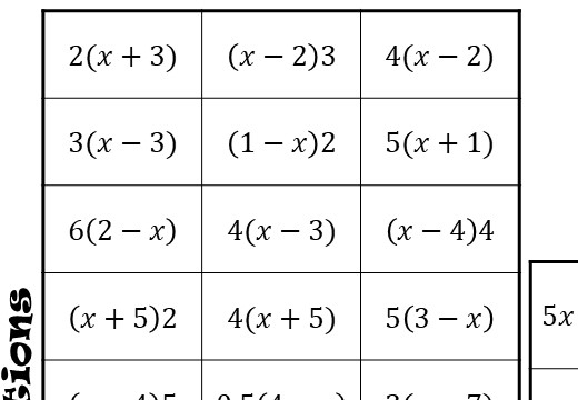 Single Brackets - Expanding - Without Coefficients - Four in a Row