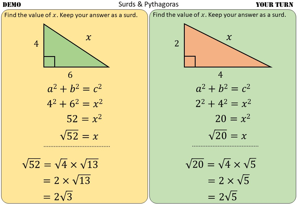 Surd Rules - With Pythagoras - Demonstration