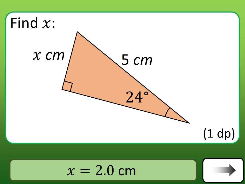 Trigonometry - Sine & Cosine - Lengths - Car Race