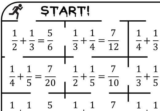 Unit Fractions - Adding - True or False Maze