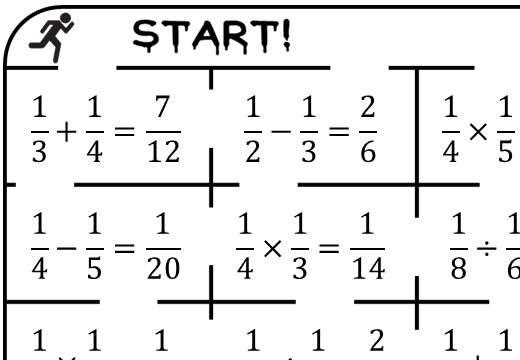 Unit Fractions - Mixed Arithmetic - True or False Maze